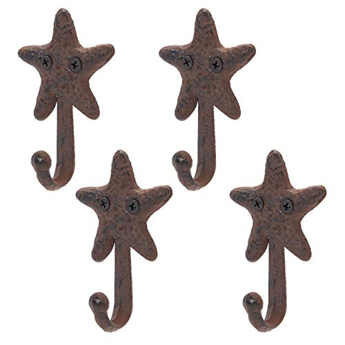 Cast Iron Wall Hooks, Starfish (Dark Bronze, 0.3 x 2.6 x 4 in, 4 Pack)