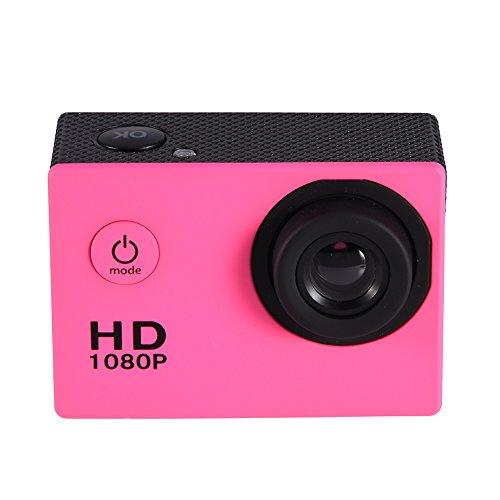 NATRUSS Cámara de acción Impermeable, Pantalla HD Mini cámara de acción DV Cámara Deportiva, para Deportes de Ciclismo al Aire Libre bajo el Agua(Pink)