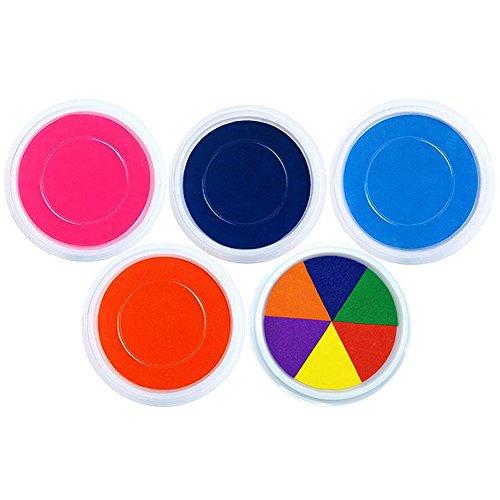 Miraclekoo Jumbo Washable Ink Pads for Rubber Stamps Kids,Set of 5 (Muti,Ink,Blue,Dark Blue,Orange)