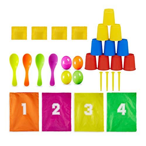 Relaxdays 10028884 Juego de Fiesta Infantil, 3 en 1, Juego de jardín para cumpleaños Infantiles, Saltos de Saco, Carrera de Huevos, Lanzador de latas, Multicolor, Multicolor