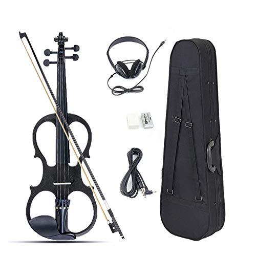 CCAN 4/4 Electric Geige Geige Saital Instrument Basswood mit Armaturen Kabel Kopfhörer Fall für Musikliebhaber Anfänger Antike (Farbe : Schwarz)