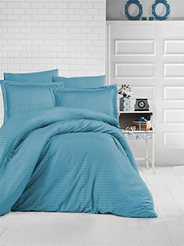 Clasy Stripe Satin Duvet Cover Set - Ultra Soft, Lightweight, % 100 Cotton - Single (EU) / Tween (USA): ( 160x220 cm / 62x86 inches ) - Turquois