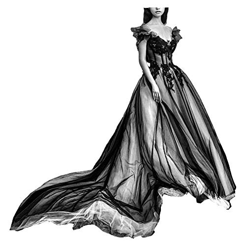 Off The Shoulder Long Gothic White V Neck Tulle Evening Prom Dresses White US 2