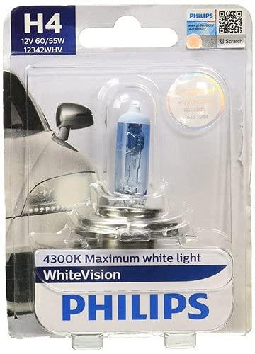 Philips H4 12342 White Vision Headlight Bulb (12V, 60/55W 4300K ) (Pack Of 2)