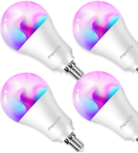 Lampadine Wifi, Maxcio Lampadine Intelligente Led Dimmerabile, Multi Colori [ E14 9W RGB+W], Controllare sull'APP,Funzione Timer, Lampaidna Smart Compatibile con Alexa e Google Home - 4 packs