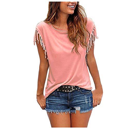 Lässige Mode mit losen Quastenärmeln für Damen Mehrfarbiges Kurzarm-T-Shirt,Oberteile Vintage Sweatshirt Rundhals Oberteile Teenager Mädchen Best Friends Top Lang(Rosa:L)