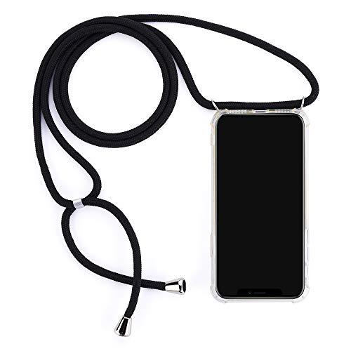 Handykette Hülle für HuaWei Y6(2019) Hülle Necklace Hülle mit Kordel zum Umhängen Silikon Handy Schutzhülle mit Band - Schnur mit zum umhängen Rundumschutz Hochwertiges Silikon, Stoßfest-Schwarz