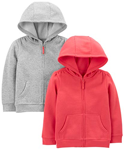 Simple Joys by Carters 2-Pack Fleece Full Zip Hoodies Hooded Sweatshirt, Pink/Gray, 5, Pacco da 2