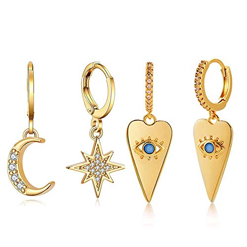 2 Pairs Small Hoop Earrings Set with Evil eye Spike Moon Star 14K Gold Plated Huggies Sparkling CZ Charm Dainty Dangle Ear Huggers Jewelry Gift For Women and Teen Girl