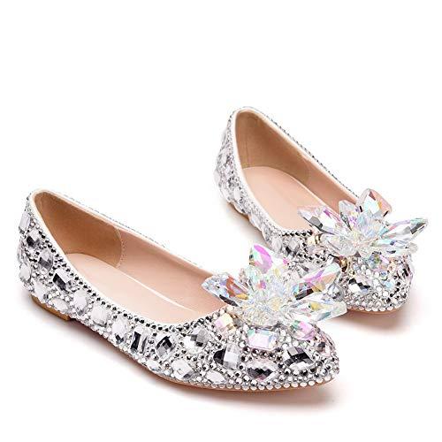 DEAR-JY Damen Brautschuhe, Luxus farbigen Strass wies flache Schuhe Kristall Blume einzelne Schuhe...