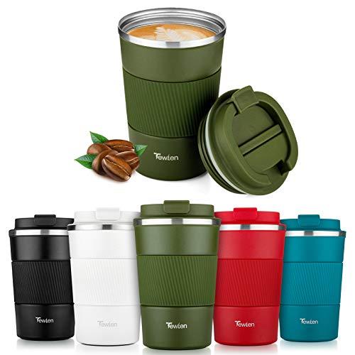 Thermobecher, TEWLEN Reisebecher Kaffeebecher to go mit Auslaufsicher Deckel - Edelstahl Kaffee to go Becher - Doppelwandig Isolierbecher Kaffeetasse Travel Mug für Heiße und Kalte Getränke Kaffee Tee