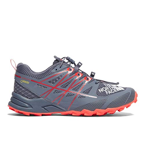 The North Face - Ultra MT II GTX Femmes Trail Running Shoe (Gris/Rouge)