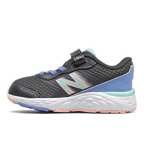 New Balance Girls 680 V6 Hook and Loop Running Shoe, Phantom/Stellar Blue/Cloud Pink, 8 Toddler
