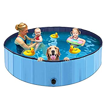 ALLADINBOX Foldable Dog Pet Bath Pool 63   Diameter Large Collapsible Wading Pool Pits Ball Pool Portable Bathing Swimming Tub XL Kiddie Pool for Dogs Cats and Kids Indoor & Outdoor Use Blue