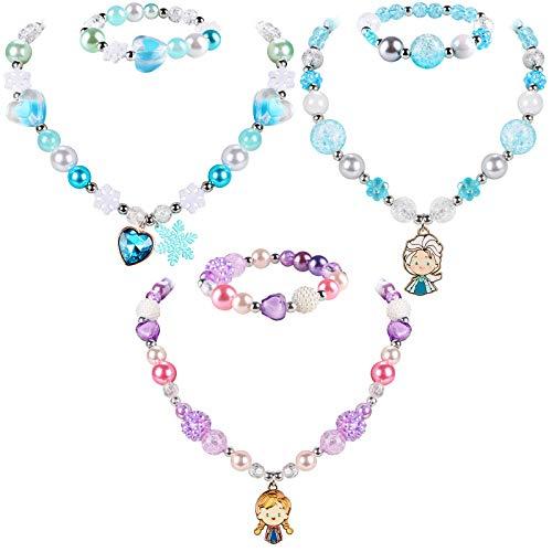 Tacobear 6 Piezas Pulseras Collares para Niña Anna Elsa Copo de Nieve Collar y Cuentas de Pulsera Princesa Joyas Set Regalos de Fiesta de Cumpleaños para Chica