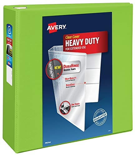 """Avery Heavy Duty View 3 Ring Binder, 4"""" One Touch EZD Ring, Holds 8.5"""" x 11"""" Paper, 1 Chartreuse Binder (79812)"""