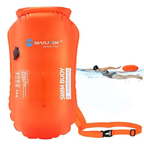Idefair Schwimmboje Open Water 28L, Sicherheitsschwimmkabine Schwimmschwimmblase mit verstellbarem Taillengürtel für das Schwimmtraining Triathleten Kajakschnorcheln