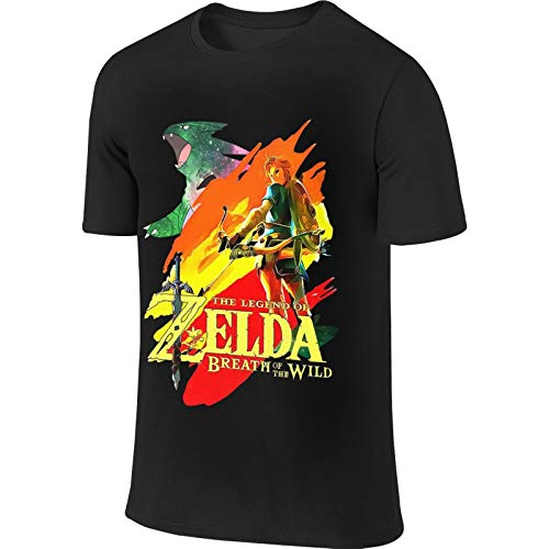 Mens Legend of Zelda Sports Tees ropa negro suave camiseta para hombre
