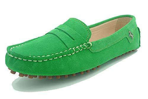 MINITOO Slipper & Mokassins fur Damen Grasgrün Wildleder Flache Schuhe YB9603 EU 40