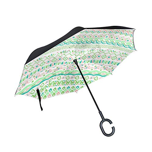 Jojogood Light Background with Tribal Pattern Inverted Umbrella Reverse Auto Open Double Layer Windproof UV Protection Upside Down Umbrella for Car Rain Outdoor Use