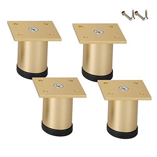 4 Stück Metall Möbelfuß Tischfüße Aluminium-Tischbeine Höhenverstellbar Möbelbein Stützfüße Verschleißfester Schlupf Für Schreibtische Schrankbeine TV-Schrank Esstisch Bar,Einfache Installation,Gold