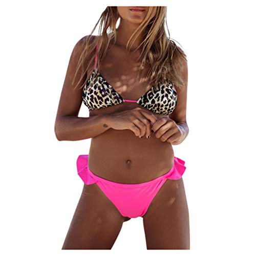 Lazzboy Frauen Push Up Leopard Print Zweiteilige Bikini Bademode Badeanzug Beachwear Damen Set Muster Zweiteiliger Mit Triangle Bandeau Padded Bandage Bikinihose(Rosa,M)