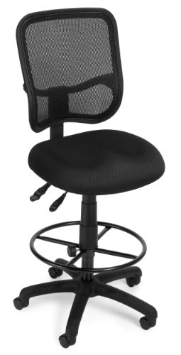 OFM Core Collection Comfort Series Ergonomic Armless Mesh Swivel Task with Drafting Kit, Mid Back, in Black