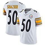 American Football Jersey James # 50 Pittsburgh Steelers Ryan Shazier, Rugby Jersey Comfortable Respirant Sports T-Shirt à Manches Courtes et col en V-White-L(180~185CM)