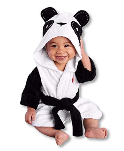 Carolilly Baby Bademantel Kapuzenhandtuch Weiches Plüsch Flanell Fleece mit Kapuze Nachtwäsche(1-6 Jahre) (1-2 Jahre, Panda)