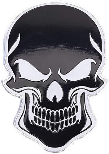 3D Metall Skull Totenkopf Sticker Logo Emblem Badge Auto Aufkleber Motorrad Schädel Chrom schwarz Bad car