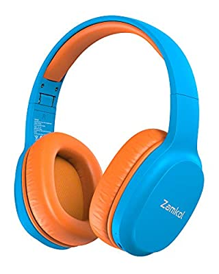 Zamkol Kids Headphones Bluetooth 5.0, 85dB/94dB Volume Limited with Microphone, 40 Hours Playing Time, Wireless Foldable Headset Over Ear, for iPhone, School, PC, iPad, Laptop, TV(Blue) from Zamkol