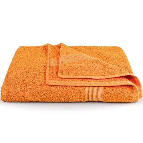 CelinaTex Bari - Toalla de sauna XXL (90 x 220 cm, algodón), color naranja