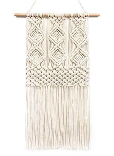 "TIMEYARD Handmade Macrame Wall Hanging Woven Tapestry - BOHO Chic Home Art Decor - Bohemian Apartment Studio Dorm Decorative Interior Wall Decor - Living Room Bedroom Nursery Craft Decorations, 12.0""W x 25.0""L"