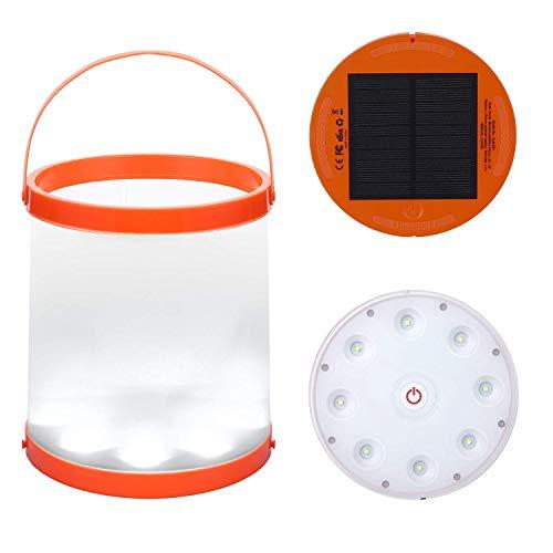 LLHH Secchio Pieghevole Solar Powered LED Camping con Magnete Porta USB Carica...