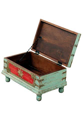 Orientalische Truhe Kiste aus Holz Arjuna Rot - 47cm groß | Vintage Sitzbank mit Aufbewahrung für den Flur | Aufbewahrungsbox mit Deckel im Bad | Betttruhe als Kissenbox oder Deko im Schlafzimmer - 3