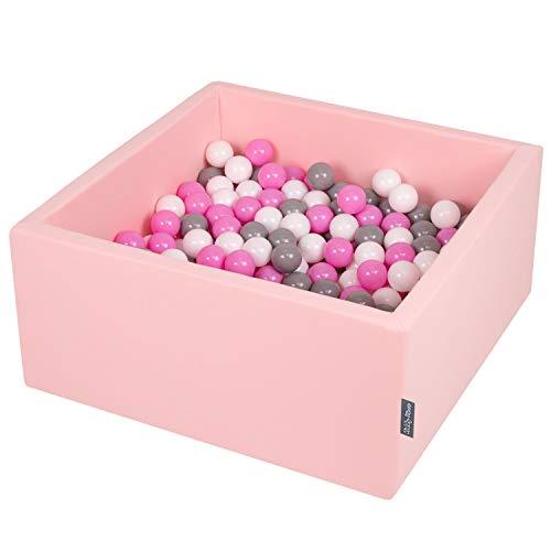 KiddyMoon 90X40cm/300 Balles ∅ 7Cm Carré Piscine À Balles pour Bébé Fabriqué en UE, Rose:Gris/Blanc/Rose