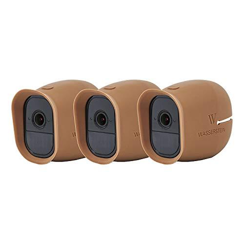 Silikon Skins mit Sonnendach für Smart Home Security Arlo Pro & Arlo Pro 2 WiFi Kamerasystem - von Wasserstein (3 x braun)