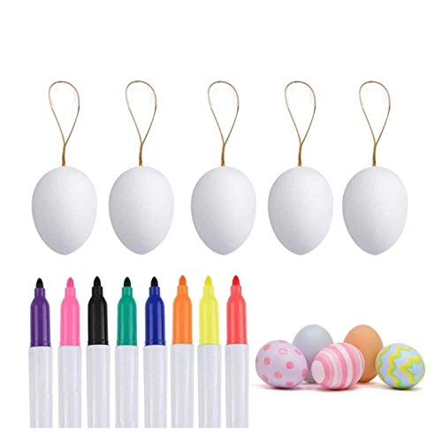 XuuSHA Easter Decoration 50 Eggs Handmade Hanging Rope Decoration Plastic DIY Creative Painting Eggs 8 Colored Pens Children's Gifts (颜色 Color : White 50)