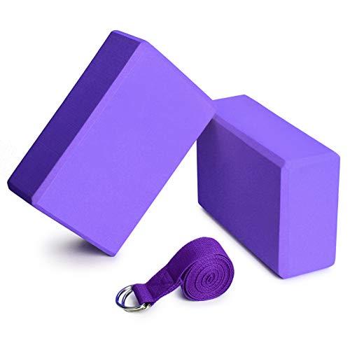Lixada Yoga Blöcke 2er mit 1er Baumwoll Yoga Gurt Yoga Block Set Yoga Pilates Meditation für Anfänger und Fortgeschrittene