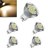 LILICEN Bombilla LED GU10 5X 6.4W 16 SMD 5630 LED del Bulbo del Punto 185-265V Blanco cálido