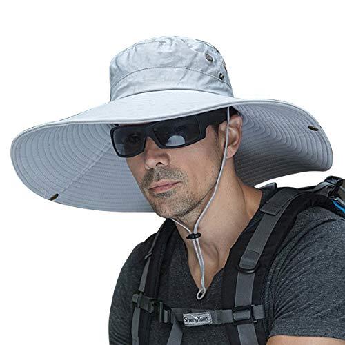 6' Large Brim Sun Protection Hats Outdoor Bucket Cap,Unisex Beach Fishing Golf Safari Waterproof Breathable Packable Boonie Hat