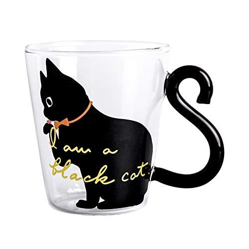 Gcroet Personalizado Lindo del Gato Taza de Agua Negro y Blanco 3D Animales de café de Cristal Tazas de café para niños y Adultos