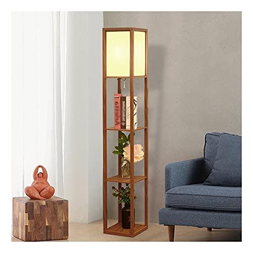Indoor Plank vloerlamp staande lamp met stof lampenkap, 3 lagen led plank lezen licht, modern licht voor slaapkamer en…
