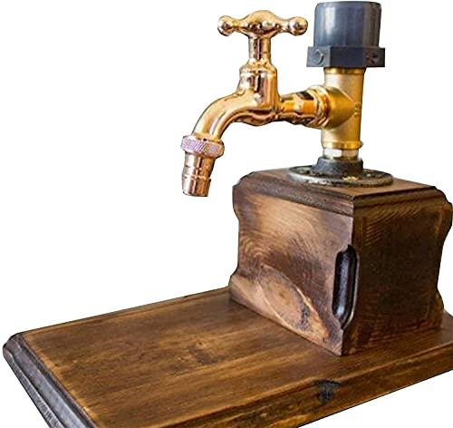 Dispensador de whisky – Dispensador de alcohol en forma de grifo, con base de madera para cenas de fiestas, barras y bebidas Día del Padre (A) (color: C)