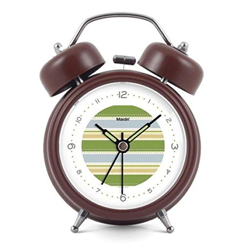 FPRW Innovatieve mode Retro wekker, stum belletjes dubbele bel Exquise desktophorloge, Luminous Simple Art creatieve horloge, Brown A