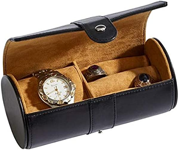 Jewelry Case Leather Jewelry Case Black Leather Round Jewelry Case Travel Jewelry Case Gifts For Him Gifts For Men