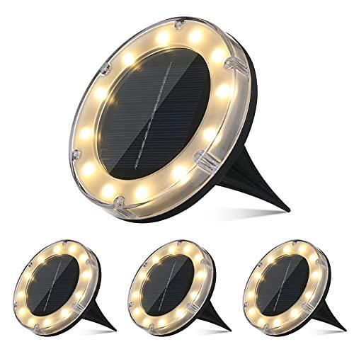 Luci Solari Giardino 12LED Luci Solari da Esterno Faretti Solari a LED da Esterno IP68 Impermeabile(Bianco caldo)【4PC】