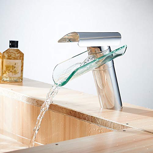 YHSGY Grifos de Cocina Caño De Cascada Grifo De Lavabo De Vidrio Baño Grifos De Fregadero Con Acabado De Alto Cromo Grifo Mezclador Monomando Torneira