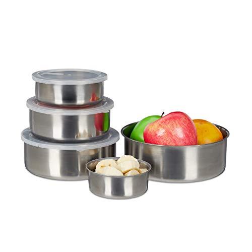 Relaxdays Brotdose Edelstahl 5er Set, runde Aufbewahrungsdosen für Lebensmittel, stapelbar, verschie