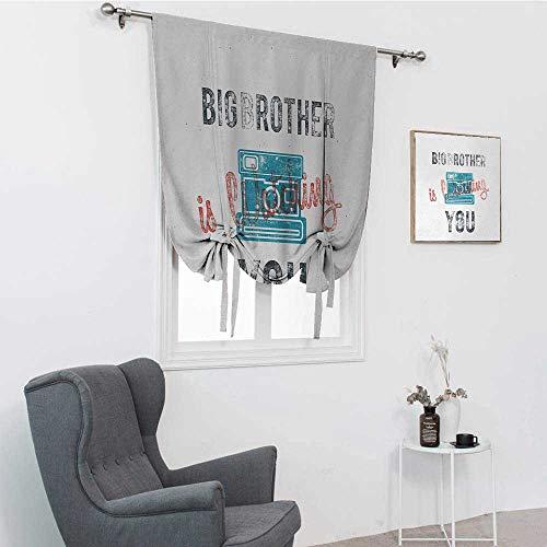 Sombras romanas vintage para ventanas, cita media tonada Big Brother con cámara analógica de estilo antiguo, impresión web, color azul, gris, 99 x 162 cm